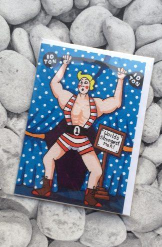 Strong Man Greetings Card